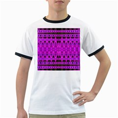 Bright Pink Black Geometric Pattern Ringer T Shirts by BrightVibesDesign