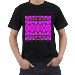Bright Pink Black Geometric Pattern Men s T-Shirt (Black) (Two Sided) by BrightVibesDesign