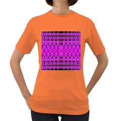 Bright Pink Black Geometric Pattern Women s Dark T Shirt