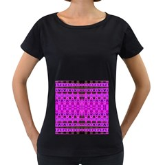 Bright Pink Black Geometric Pattern Women s Loose Fit T Shirt (black) by BrightVibesDesign