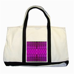 Bright Pink Black Geometric Pattern Two Tone Tote Bag by BrightVibesDesign