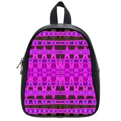 Bright Pink Black Geometric Pattern School Bags (small)
