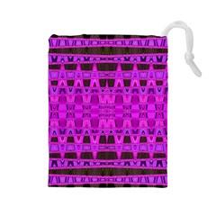 Bright Pink Black Geometric Pattern Drawstring Pouches (large)