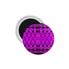 Bright Pink Black Geometric Pattern 1.75  Magnets by BrightVibesDesign