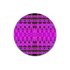 Bright Pink Black Geometric Pattern Magnet 3  (round)