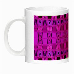 Bright Pink Black Geometric Pattern Night Luminous Mugs by BrightVibesDesign