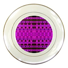 Bright Pink Black Geometric Pattern Porcelain Plates