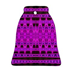 Bright Pink Black Geometric Pattern Bell Ornament (2 Sides) by BrightVibesDesign