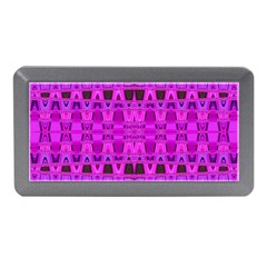 Bright Pink Black Geometric Pattern Memory Card Reader (mini)