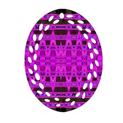 Bright Pink Black Geometric Pattern Ornament (oval Filigree)  by BrightVibesDesign