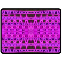 Bright Pink Black Geometric Pattern Double Sided Fleece Blanket (large)