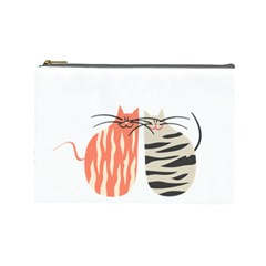Two Lovely Cats   Cosmetic Bag (large)  by TastefulDesigns
