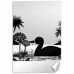 Duck Sihouette Romance Black & White Canvas 20  X 30