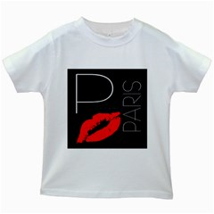 Greetings From Paris 1500 1500 Red Lipstick Kiss Black Postcard Design Kids White T Shirts by yoursparklingshop