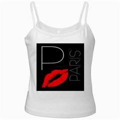 Greetings From Paris 1500 1500 Red Lipstick Kiss Black Postcard Design Ladies Camisoles by yoursparklingshop
