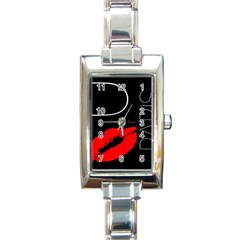 Greetings From Paris Red Lipstick Kiss Black Postcard Rectangle Italian Charm Watch by yoursparklingshop