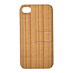 Elegant Striped Linen Texture Apple Iphone 4/4s Hardshell Case With Stand