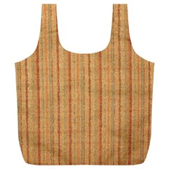 Elegant Striped Linen Texture Full Print Recycle Bags (l)