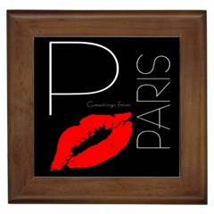 Greetings From Paris Red Lipstick Kiss Black Postcard Framed Tiles by yoursparklingshop