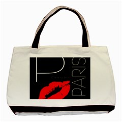 Greetings From Paris Red Lipstick Kiss Black Postcard Basic Tote Bag (two Sides) by yoursparklingshop