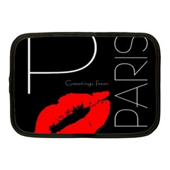 Greetings From Paris Red Lipstick Kiss Black Postcard Netbook Case (medium)  by yoursparklingshop