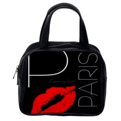 Greetings From Paris Red Lipstick Kiss Black Postcard Classic Handbags (one Side) by yoursparklingshop