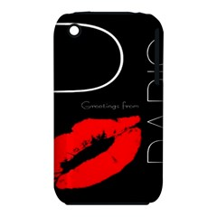 Greetings From Paris Red Lipstick Kiss Black Postcard Apple Iphone 3g/3gs Hardshell Case (pc+silicone) by yoursparklingshop