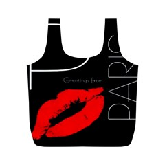 Greetings From Paris Red Lipstick Kiss Black Postcard Full Print Recycle Bags (m)  by yoursparklingshop