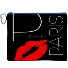 Greetings From Paris Red Lipstick Kiss Black Postcard Canvas Cosmetic Bag (xxxl)  by yoursparklingshop