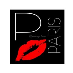 Greetings From Paris Red Lipstick Kiss Black Postcard Small Satin Scarf (square) by yoursparklingshop