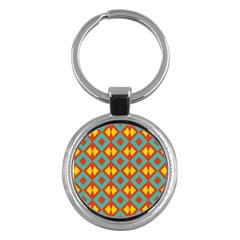 Blue Rhombus Pattern                			key Chain (round) by LalyLauraFLM