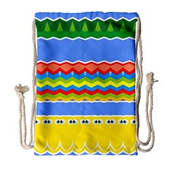 Colorful Chevrons And Waves                 Large Drawstring Bag by LalyLauraFLM