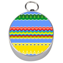 Colorful Chevrons And Waves                 Silver Compass by LalyLauraFLM