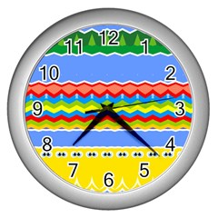Colorful Chevrons And Waves                 wall Clock (silver) by LalyLauraFLM