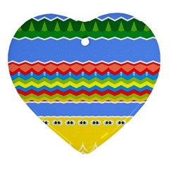 Colorful Chevrons And Waves                 			ornament (heart) by LalyLauraFLM