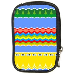 Colorful Chevrons And Waves                 			compact Camera Leather Case by LalyLauraFLM