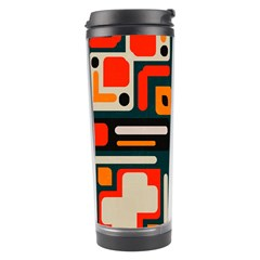Shapes In Retro Colors Texture                   Travel Tumbler by LalyLauraFLM