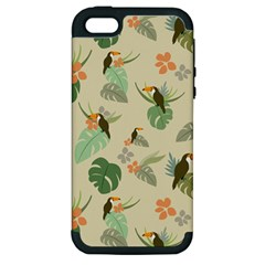 Tropical Garden Pattern Apple Iphone 5 Hardshell Case (pc+silicone)