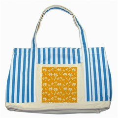 Summer Palm Tree Pattern Striped Blue Tote Bag by TastefulDesigns
