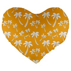 Summer Palm Tree Pattern Large 19  Premium Heart Shape Cushions by TastefulDesigns