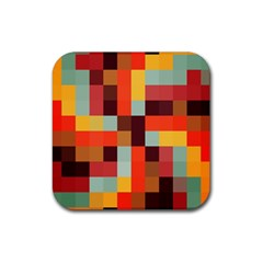 Tiled Colorful Background Rubber Square Coaster (4 Pack)