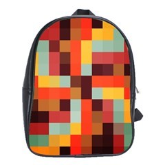 Tiled Colorful Background School Bags(large)