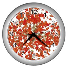 Vivid Floral Collage Wall Clocks (silver)  by dflcprints