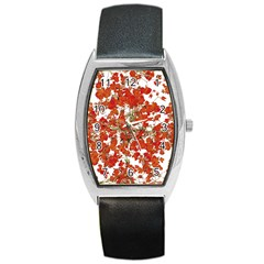 Vivid Floral Collage Barrel Style Metal Watch by dflcprints