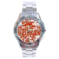 Vivid Floral Collage Stainless Steel Analogue Watch