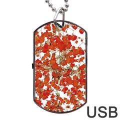 Vivid Floral Collage Dog Tag Usb Flash (one Side) by dflcprints