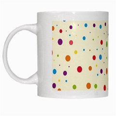 Colorful Dots Pattern White Mugs