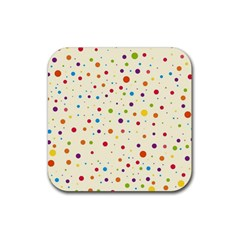 Colorful Dots Pattern Rubber Square Coaster (4 Pack)