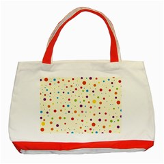 Colorful Dots Pattern Classic Tote Bag (red)