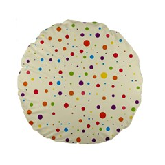 Colorful Dots Pattern Standard 15  Premium Round Cushions